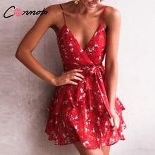 Conmoto Sexy Red Print Short Dress Women 2019 Summer Strap V Neck Backless Dress Holiday Floral Bow Chiffon Dress Vestidos