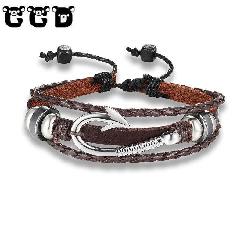 CCD 2019 New Fashion Black anchor Bracelet Men Charm Punk Bracelet Male Wrap Metal Sport Hook Women Bracelets & Bangles Adjust
