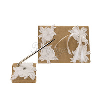 2Pcs Set 005 Burlap Hessian Lace Guest Book Pen Ring Pillow Flower Basket Garter Decoration Wedding