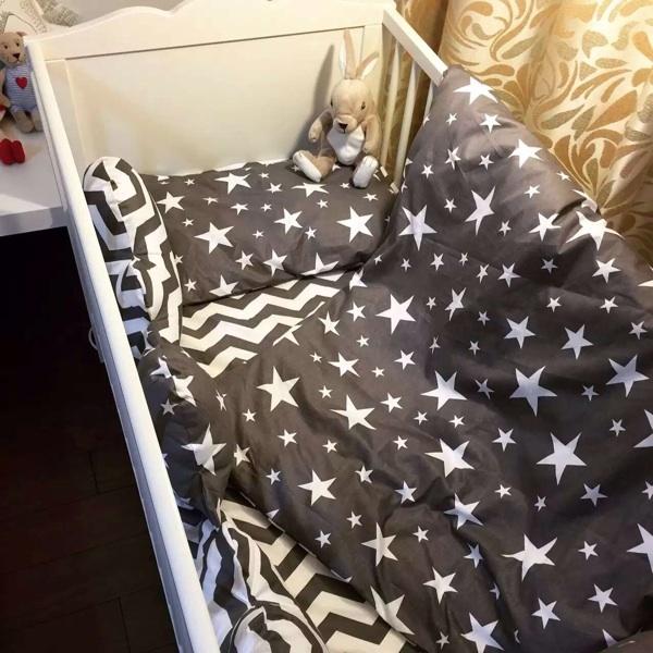 Negro raya blanca de la estrella cama cuna 100% cottotton 3 unids bebé juego de Cama incluye funda de almohada + hoja de cama funda nórdica sin relleno