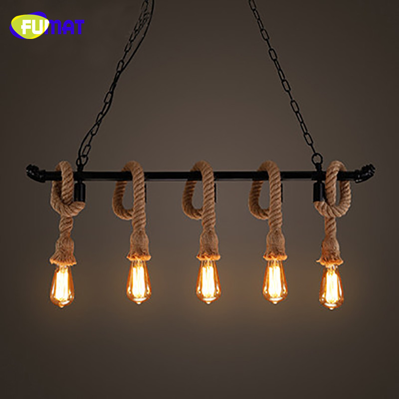 FUMAT Hemp Rope Chandeliers American Vintage Dinning Room Light Iron Water Pipe Lamp Nordic Simple Bar Cafe Suspension Lamps fumat clear glass pendant light with hemp rope vintage cafe bar suspension light fixture nordic living room dinning room lamp