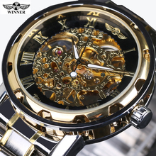 2016 new hot sale skeleton hollow fashion mechanical hand wind men luxury male business Full Steel strap Wrist Watch relogio