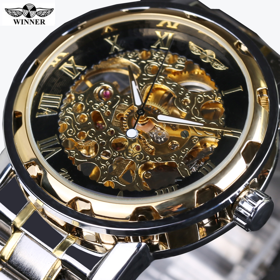 Prix pour 2016 new hot vente squelette creux de mode mécanique main vent hommes de luxe mâle d'affaires Complet bracelet En Acier Montre-Bracelet relogio