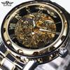2016 New Hot Sale Skeleton Hollow Fashion Mechanical Hand Wind Men Luxury Male Business Full Steel
