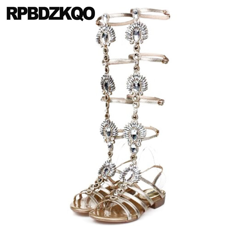 Big Size Gold Open Toe Knee High Sandals Slingback Wedding Rhinestone Roman 10 Boots Gladiator Summer Luxury Brand Shoes Women summer women sandals open toe rhinestone lady designer gladiator sandal boots shinny bridal wedding shoes snake style sandals