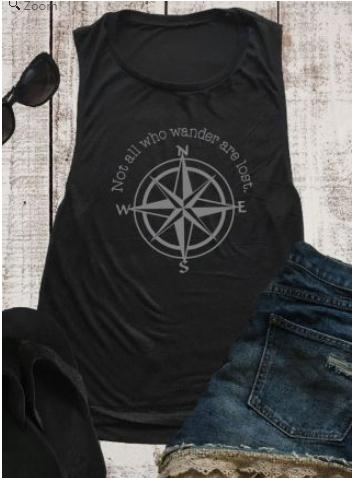 2018 Summer Women   Tank     Tops   Not All Who Wander Are Lost Compass Print   Tank   Fashion Casual Female Black   Tops   Ladies   Tank   Vest