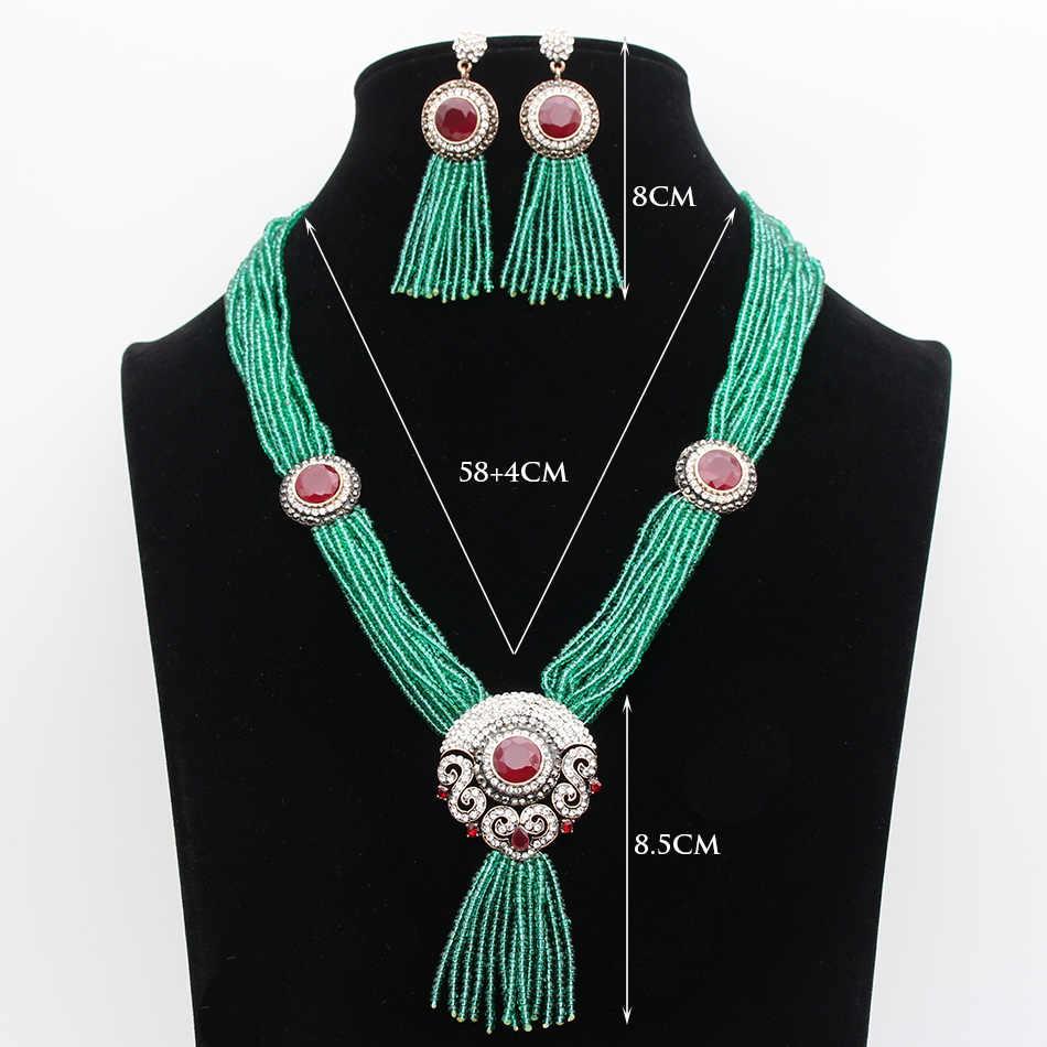 Z motywem tureckim w stylu vintage kobiety czerwony koralik żywica okrągły kwiat biżuteria ustawia długi kolczyk z frędzlami kilka łańcuszków naszyjnik indie Bride Bijoux prezent