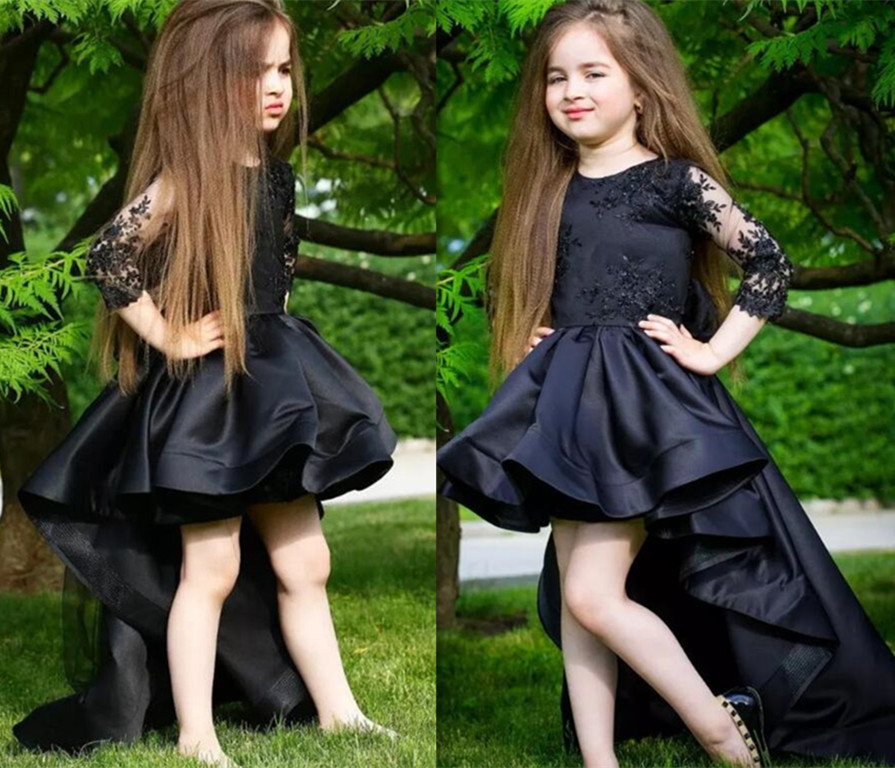 Black Fashion Girls Pageant Gown Three Quarter Sleeves Lace Beads Flower Girls Dresses Custom Made Gown цены