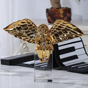 1PCS  Creative home resin fat angel furnishings The bedroom desktop resin crystal handicraft ornament