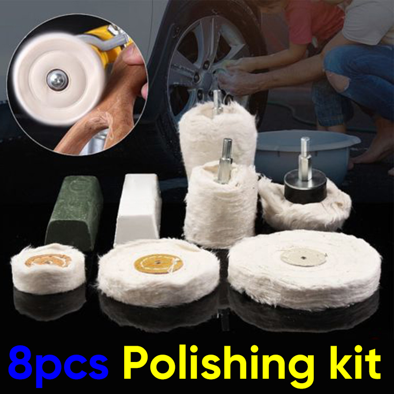Mop Pad Plastic 6mm Polishing Wheel Kit Cylinder Buffing Metal Set White Cotton Cloth Compound Stainless Steel