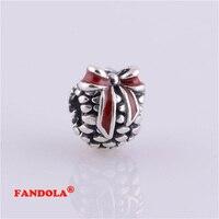Fits Pandora Charms Bracelet 925 Sterling Silver Beads Red Enamel Pine Cone Screw Hole Charm Women DIY Jewelry Making LW319