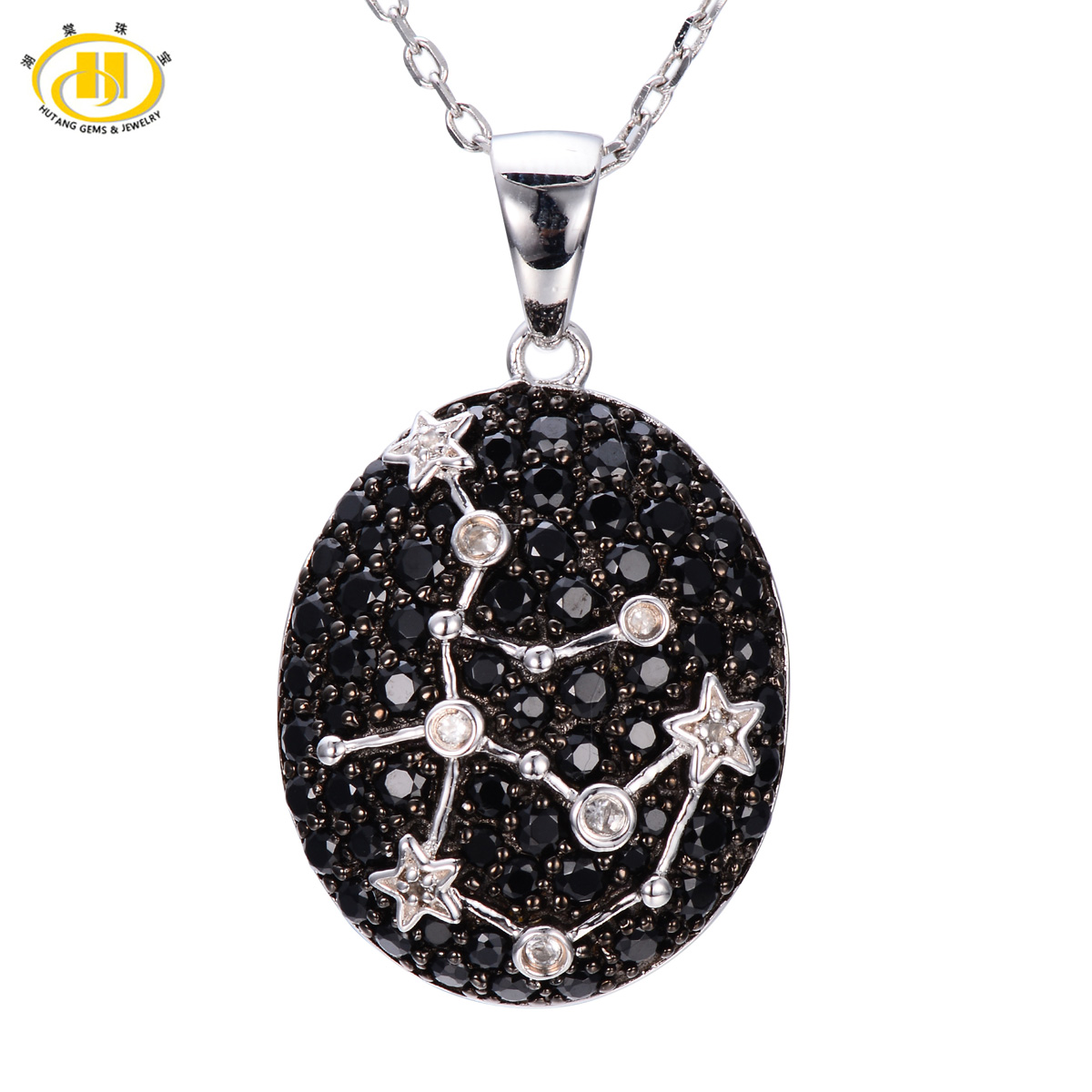 Hutang Fine Jewelry Chokers Women Natural Black Spinel White Topaz Necklace Pendant 925 Sterling Silver Aquarius Constellation все цены