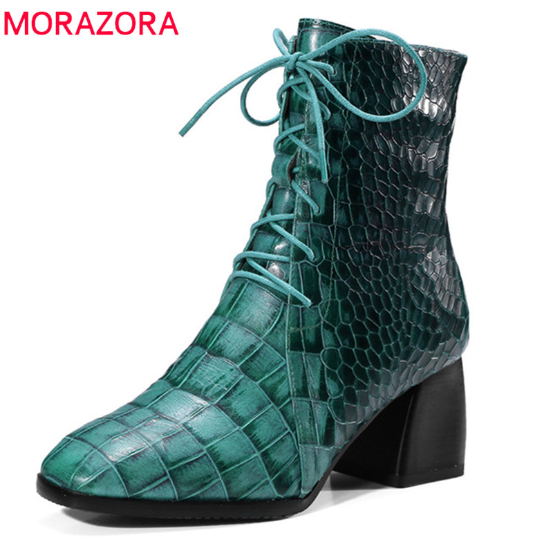 MORAZORA 2018 new arrival ankle boots for women autumn winter genuine leather boots square toe lace up high heels shoes woman MORAZORA 2018 new arrival ankle boots for women autumn winter genuine leather boots square toe lace up high heels shoes woman