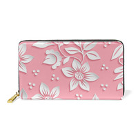 Women's Fashion 3D Pink and White Flowers Print With Large Flora Wallet Girls Money Clip Zipper Elegant Clutch Funny Wallet