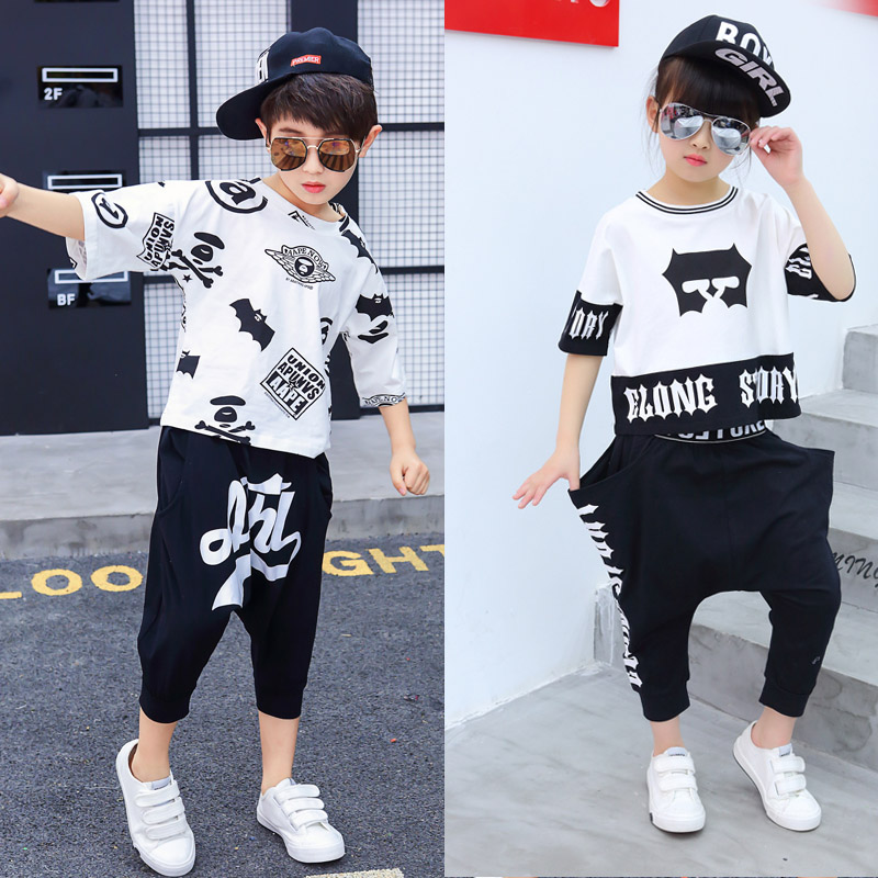 Kid boy girl cotton white black hip hop costume haren Pants for children performance hiphop show costume clothes T-shirt