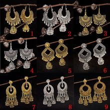 TopHanqi 10 пар/лот смешанные богемные винтажные Золотые/Серебристые большие висячие Висячие серьги для женщин индийские цыганские украшения
