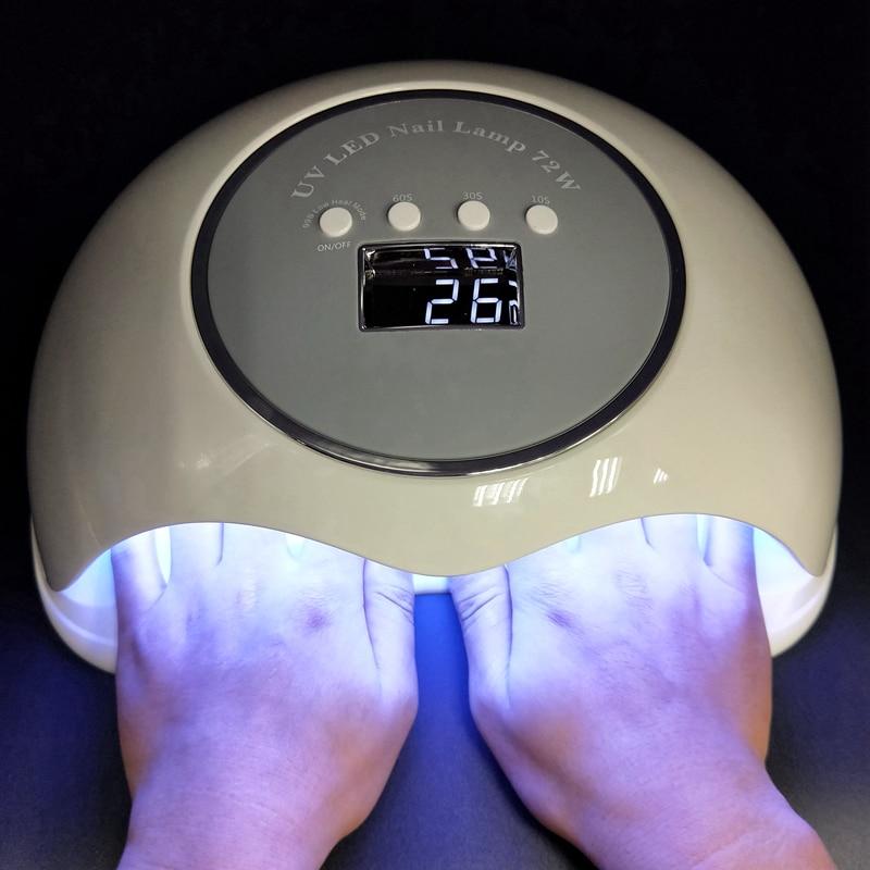 Nouveau grande puissance 72 W UV LED sèche-ongles Gel vernis à ongles traitement Daul poignée UV lampe LED Gel Gel ongles vernis outils bas 10 s/30 s/60 s/90 s