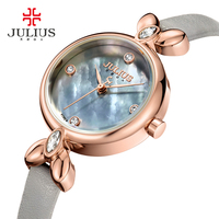 Julius Watch Ladies Elegant Slim Womens Watches With Leather Straps Quartz Crystal Clock Relogio Mulher Retro Hand Whatch JA 975