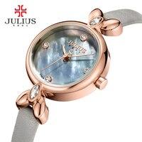 Julius Watch Ladies Elegant Slim Womens Watches With Leather Straps Quartz Crystal Clock Relogio Mulher Retro Hand Whatch JA 975