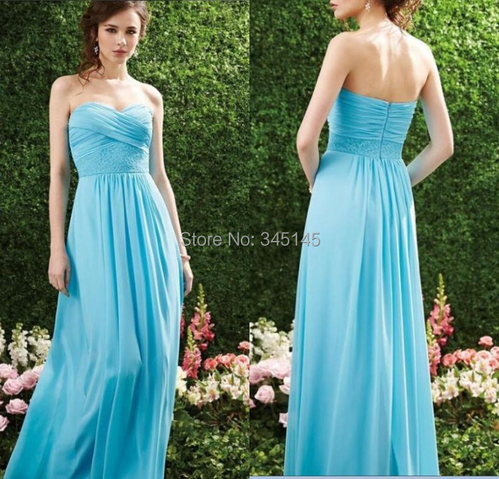 Sexy Lace Chiffon Floor Length   Bridesmaid     Dresses   Blue Sweetheart Open Back Prom Party Gowns