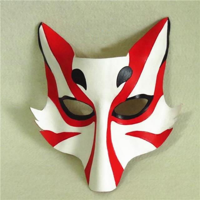 Japanese Style Leather Fox Kitsune Cosplay Mask Masque Adult Unisex Half Face for Party Halloween Props Fancy Dress Ball стоимость