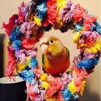 Gran pájaro juguete loro preening grooming jugar ejercicio masticar algodón snuggle Ring Bird Toy NB0284