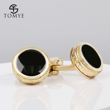 TOMYE  suit shirt gold black enamel wedding luxury cufflinks for mens XK19S064