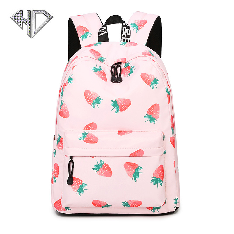 Canvas Strawberry Printing Backpack Women School Backpack Bag for Teenage Girls Laptop Rucksack Bagpack Female Schoolbag Mochila canvas backpack women for teenage boys school backpack male