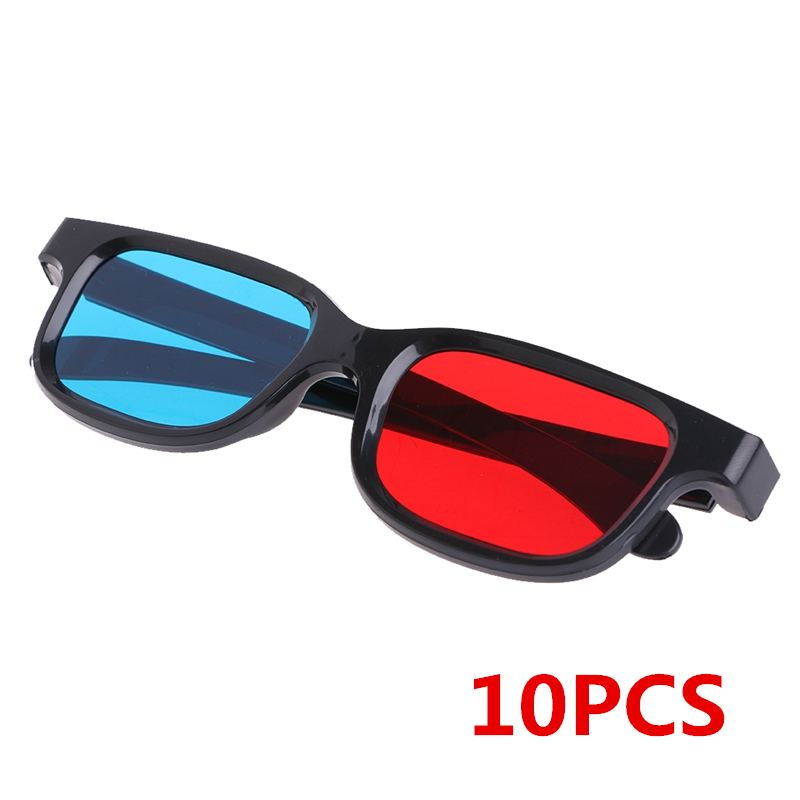10Pcs Universal Black Frame Red Blue Cyan Anaglyph 3D Glasses 0.2mm For Movie Game DVD