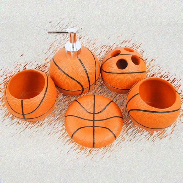 Charmant Cute Basketball Resin Bathroom Accessories 5 Pieces Conjunto Para Banheiro  Wedding Gift Bathroom Set Resin Bathroom