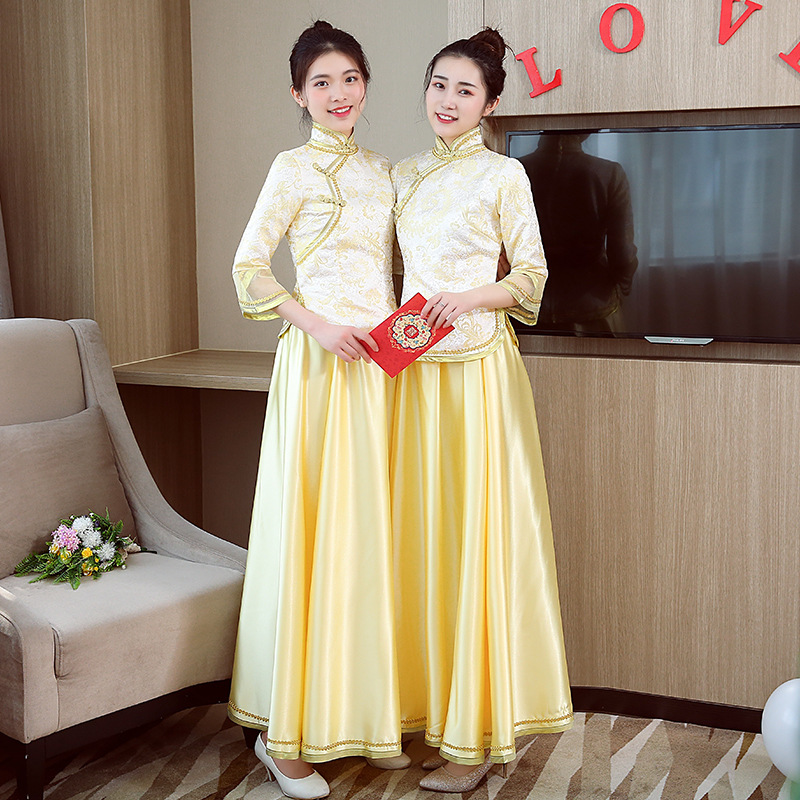 2019 Traditional Show Bride Bridesmaid Cheongsam Married