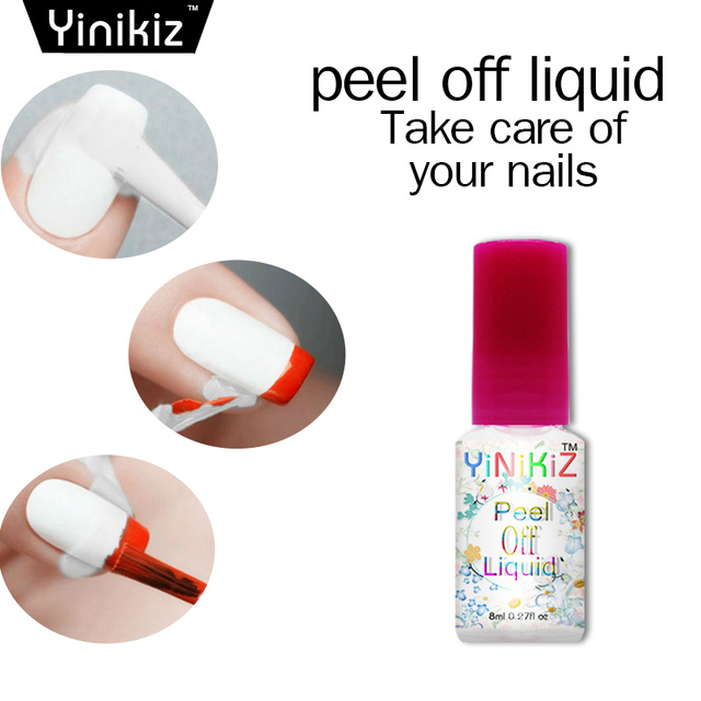 Yinikiz 8ml White L Off Liquid Latex Nail Art Tape Finger Skin Protected Palisade