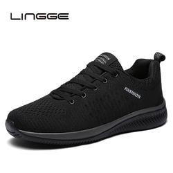 LINGGE/новая сетка Для мужчин повседневная обувь на шнуровке легкая мужская обувь удобная дышащая прогулочная теннисные кроссовки Feminino Zapatos