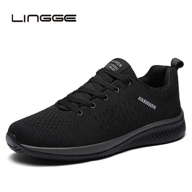 LINGGE 新メッシュ男性カジュアルシューズレースアップメンズ靴軽量快適な通気性ウォーキングスニーカー Tenis Feminino Zapatos