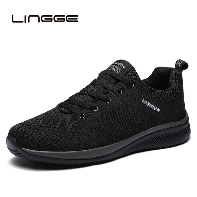 LINGGE nueva de malla de los hombres casuales Zapatos de encaje Zapatos de los hombres ligero cómodo transpirable caminando zapatillas de Tenis femenino Zapatos