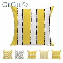 Yellow Stripe Pillow Cotton Linen Animal Elephant  Cushion Cover Giraffe Geometric Rhombus Modern Sofa Decor Case 45*45