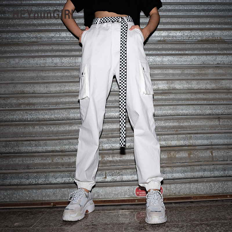 HEYounGIRL Summer Women Cargo   Pants     Capris   High Waist Casual Loose Joggers Baggy White Sweatpants Pockets Cotton Female Trousers