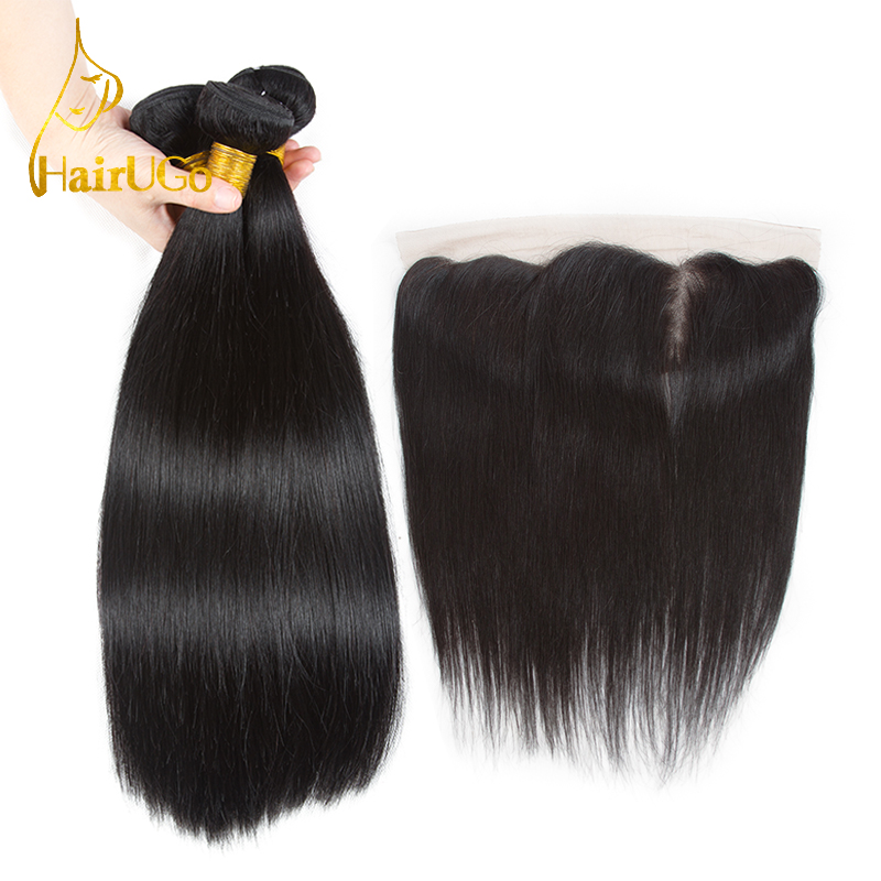 HairUGo Pre-Colored Hair Malaysia Straight Human Hair 3 Bundles with 13*4 Lace Frontal Closure In Extension Non-Remy Hair