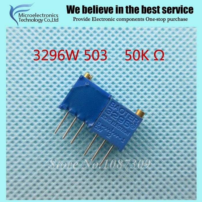 100Pcs/lot 3296W-1-503LF 3296W 503 50K ohm Top regulation  Multiturn Trimmer Potentiometer High Precision Variable Resistor