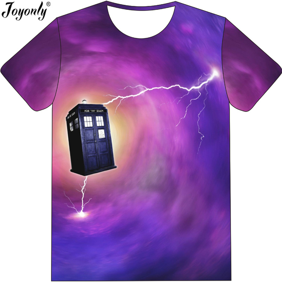 Joyonly Boys Girls Purple Color Galaxy T Shirt Police Public Call Box 3D Printed T-Shirt ...