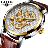LIGE Fashion Mens Watches Top Brand Luxury Gold Dragon Quartz Watch Men Casual Leather Waterproof Sport Watch Relogio Masculino