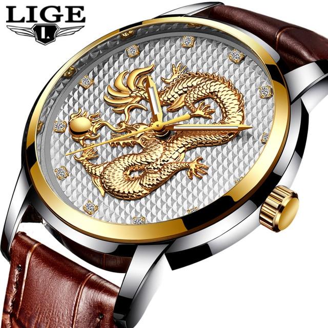 bc9885801b3 LIGE Moda Mens Relógios Top Marca de Luxo Dragão de Ouro Relógio de Quartzo  Relógio Do