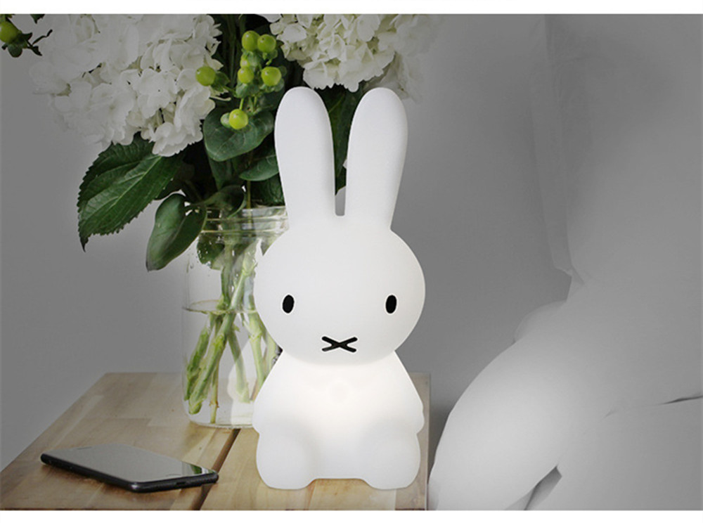 SuperNight Cartoon Rabbit LED Night Light Dimmable Rechargeable Touch Sensor Bedroom Bedside Table Lamp for Baby Kids Toy Gift (34)