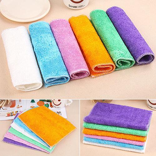Dish Towel Dishcloth Bamboo Fiber Oil Washing Towels Scouring Pad Kitchen Gadget  8C64