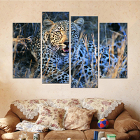 Unframed Drop Shipping 4 Panels Leopard Animal Modern Canvas Art Painting Wall Art Canvas Picture For