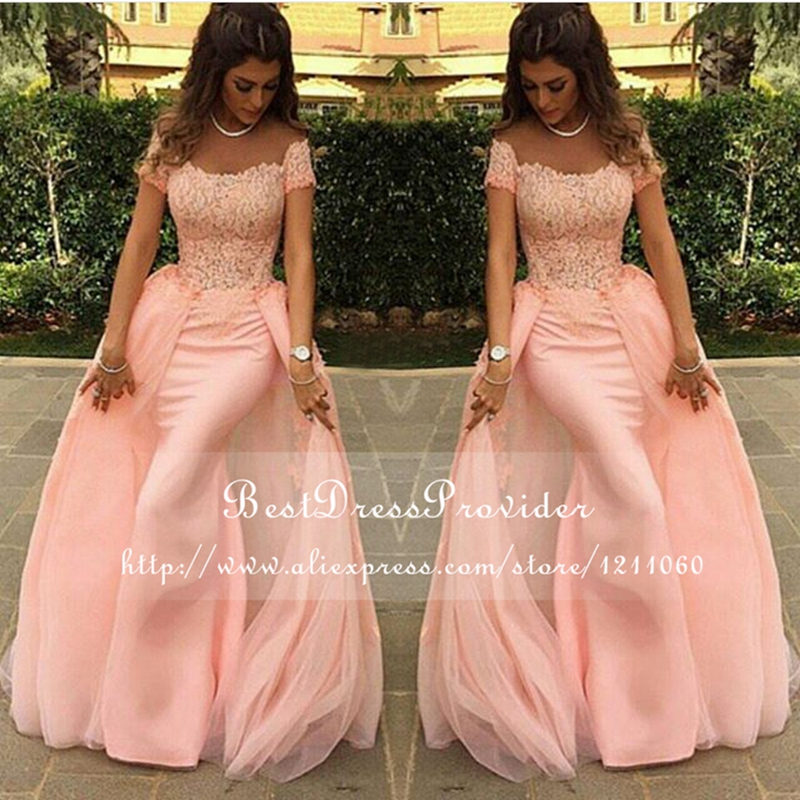 Buy Long Evening Dress 2017 Mermaid abendkleider Lace Pink New Arrival Formal Evening Dresses Arabic Evening Gowns robe de soiree