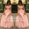 Vestido de Noche largo 2017 de La Sirena abendkleider Encaje Rosa Nueva Llegada Formales Vestidos de Noche Árabe Vestidos de Noche robe de soirée