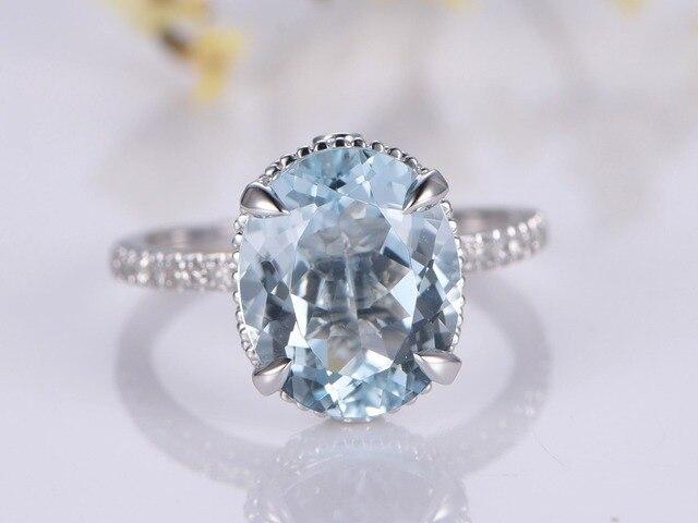 Myray 11x9mm Oval Natur Blau Aquamarin Edelstein Diamant Band
