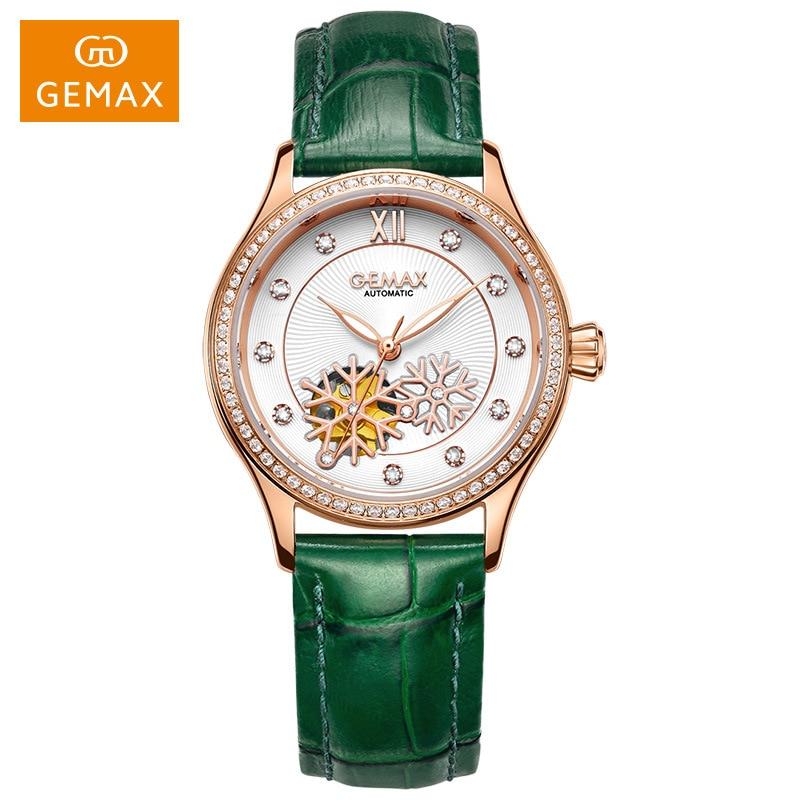 GEMAX Luxury Watch Women MIYOTA Movement Automatic Watch Genuine Leather Strap Green Ladies Watch 50 M Waterproof  Wristwatches