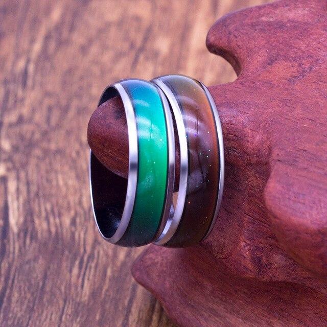 Cambiando de Color humor anillos sensación emoción temperatura anillo ancho  6mm de joyería inteligente venta 57aaedee936